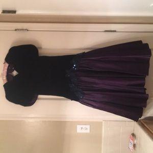 Royal purple satin & velvet vintage evening dress